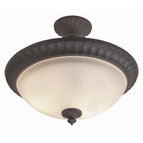 Jeremiah Premier Round Flute Frost 3 Light Semi Flush Mount