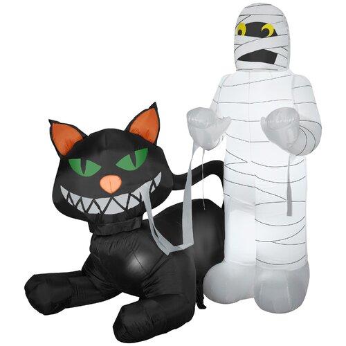 Animated Cat Eating Mummy Halloween Decoration