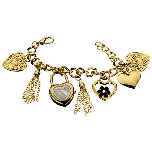Women's Heart Charm Mother of Pearl Dial Bracelet Watch