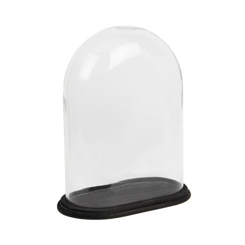 White x White Glass Dome Oval on Base