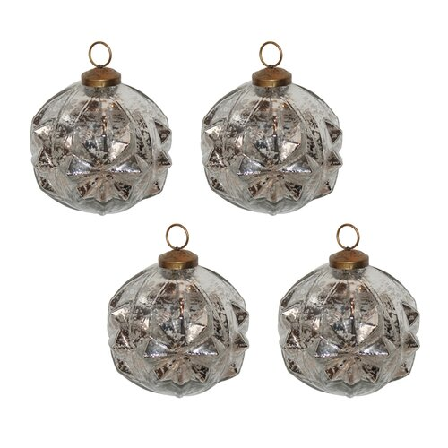Mercury Glass Deco Ball Ornament Set (Set of 4)