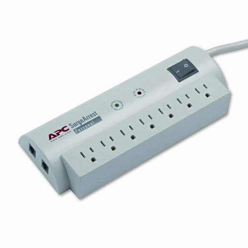APC® SurgeArrest Personal Pwr Surge Protector w/Tel Protect, 7 Outlets, 6ft Cord
