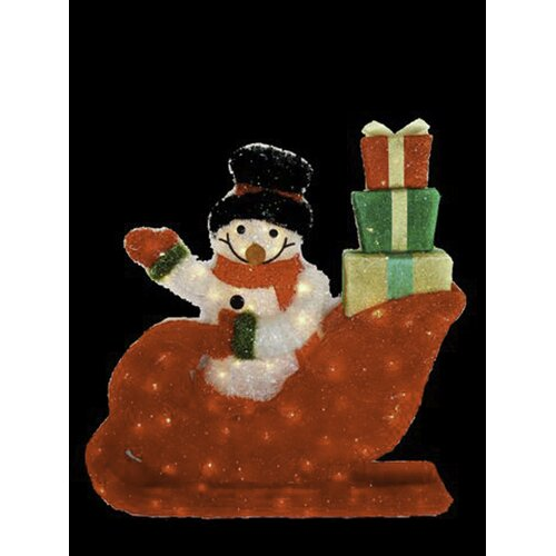 Snowman Riding In The Red Sleigh Wave Hello with Gift Packages Christmas Decoration