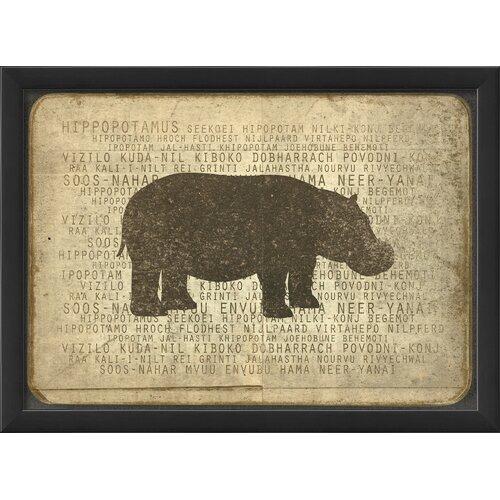 Blueprint Artwork Hippo Silhouette Framed Graphic Art