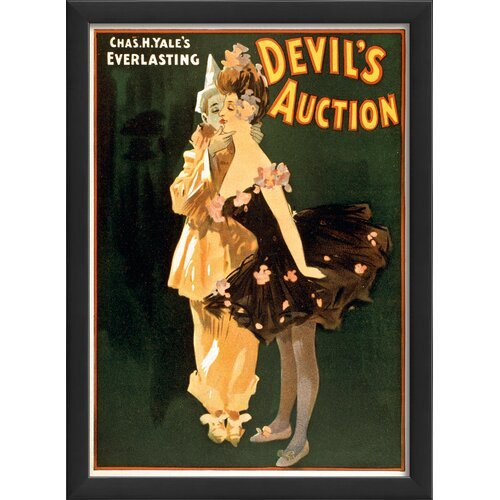 Blueprint Artwork Devils Auction I Framed Vintage Advertisement