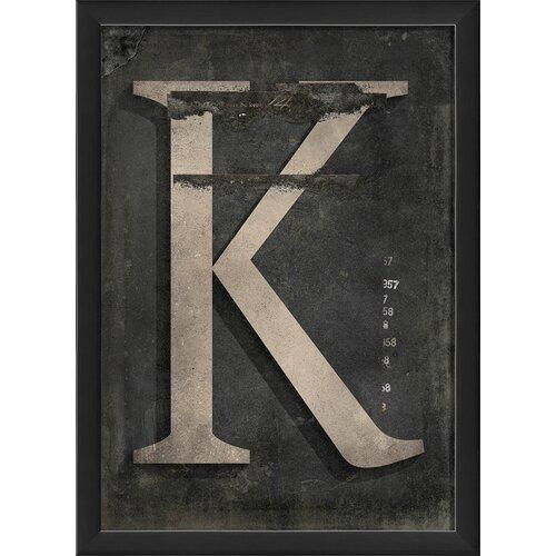 Blueprint Artwork Letter K Framed Textual Art in Black and Gray