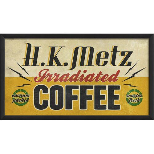 Blueprint Artwork HK Metz Irradiated Coffee Framed Vintage Advertisment