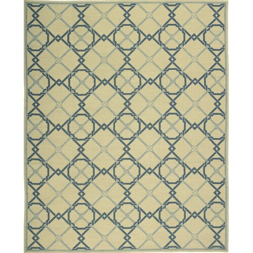 Thaleia Needlepoint Ascot Cream / Blue Geometric Rug
