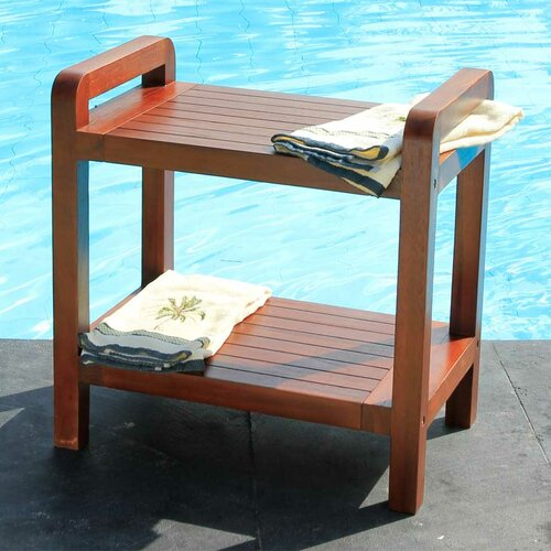 Outdoor Teak Bench Shelf or End Table