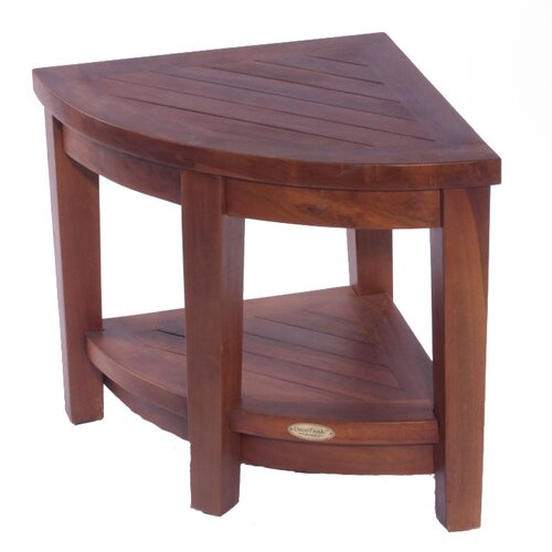 Decoteak Classic Teak Corner Spa Shower Chair