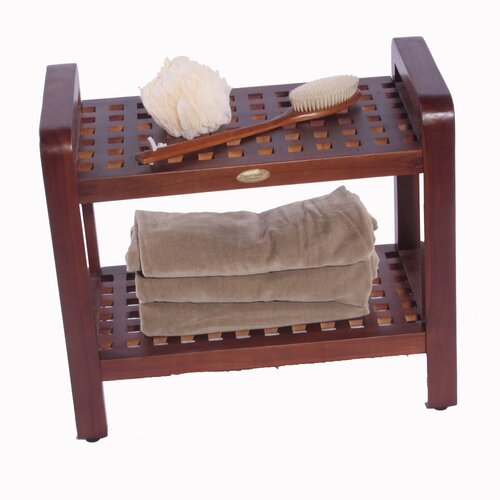 Decoteak Teak Grate Bathroom Elegance Storage Free Standing Shelf