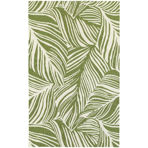 Atrium Tropical Leaf Green Ivory Indoor Outdoor Area Rug