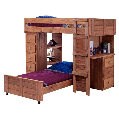 Twin Bunk Bed with Desk 500 x 500