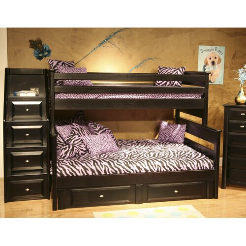 Chelsea Home Twin Over Full Standard Bunk Bed with Stairway Chest and Storage