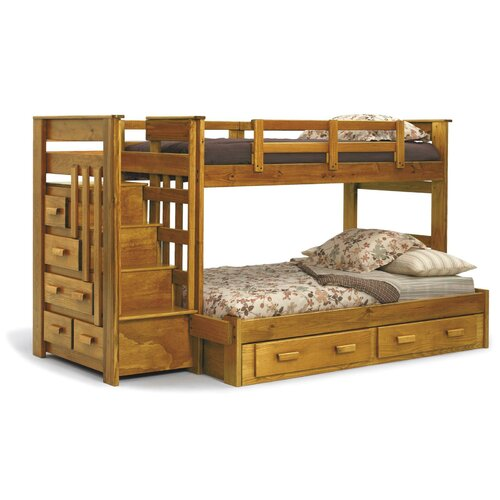 Chelsea Home Twin over Full Standard Bunk Bed with Stairway Chest and ...