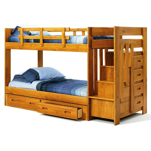 Chelsea Home Twin over Twin Standard Bunk Bed with Reversible Staircase and Underbed Storage