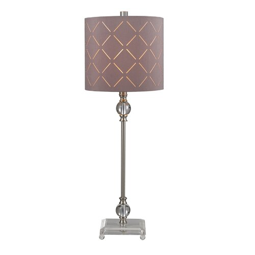 """HGTV Home Criss Cross Laser Cut 29.5"""" H Table Lamp with Drum Shade"""