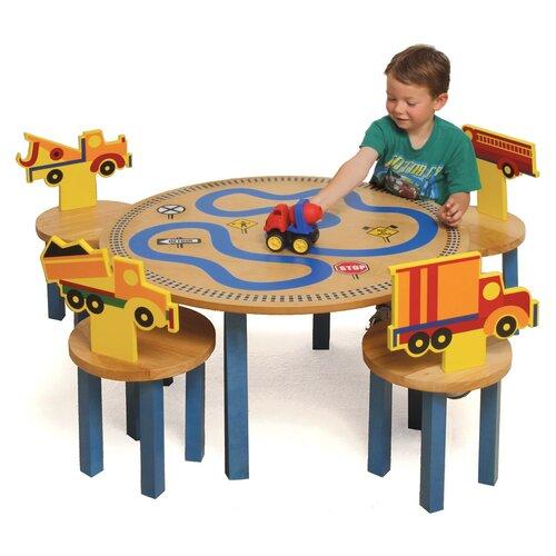 Room Magic Boys Like Trucks Kids' 5 Piece Table and Chair Set