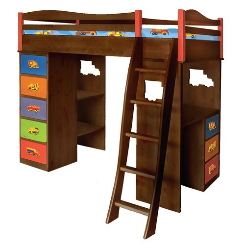 Boys Like Trucks Twin Bunk Bed with Desk and Storage