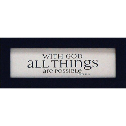 Artistic Reflections With God All Things Are Possible Framed Textual Art