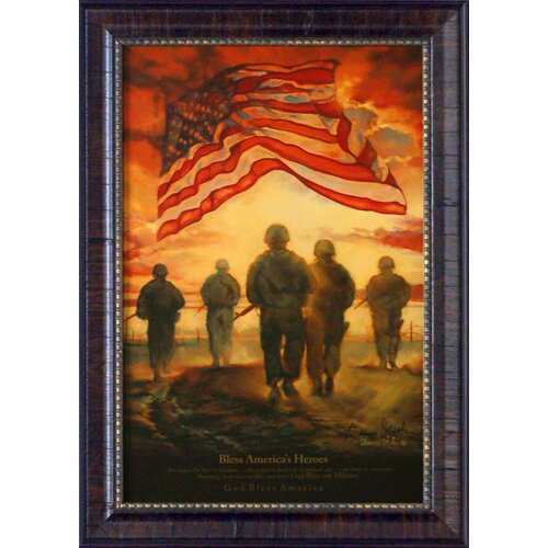 Artistic Reflections Bless America's Heroes Framed Graphic Art