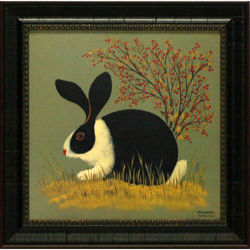 Red Berry Bunny Framed Painting Print