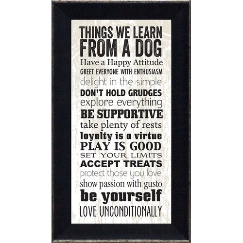 Artistic Reflections Things We Learn From a Dog Framed Textual Art