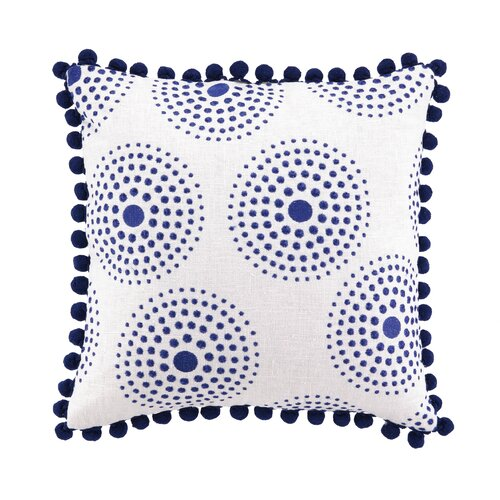 Sis Boom by Jennifer Paganelli Antonia Linen Embroidered Pillow with Pom Pom