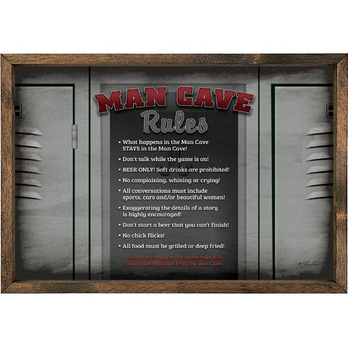 Magnet Art Print Man Cave Rules Framed Wall Art