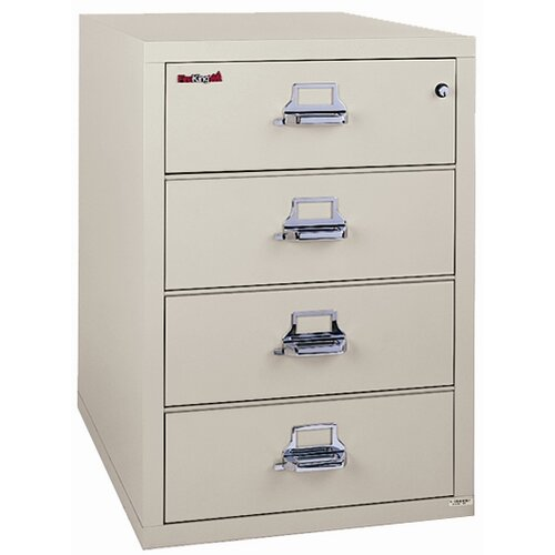 FireKing Fireproof 4-Drawer Card, Check and Note File