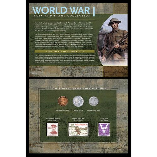 World War I Coin and Stamp Collection Wall Framed Memorabilia