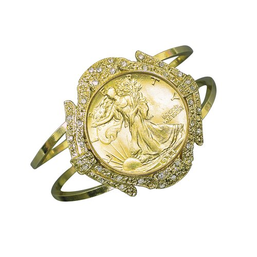 American Coin Treasures Walking Liberty Half Dollar Goldtone Coin Cuff Bracelet