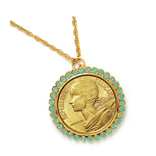 French Coin Pendant Opal-Pacific Crystals
