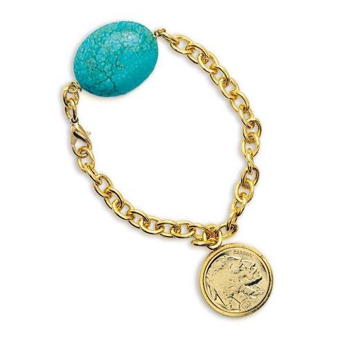 American Coin Treasures Buffalo Nickel Turquoise Stone Bracelet