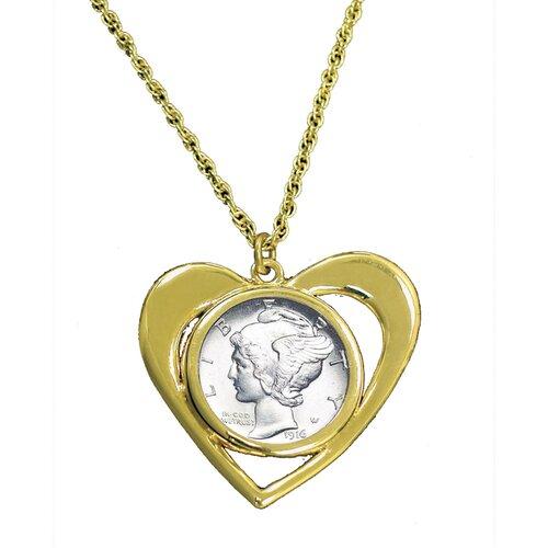 Mercury Dime Goldtone Heart Pendant