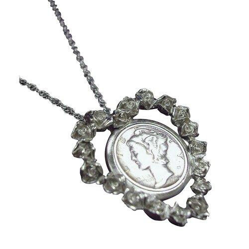 Mercury Dime Rose Heart Pendant