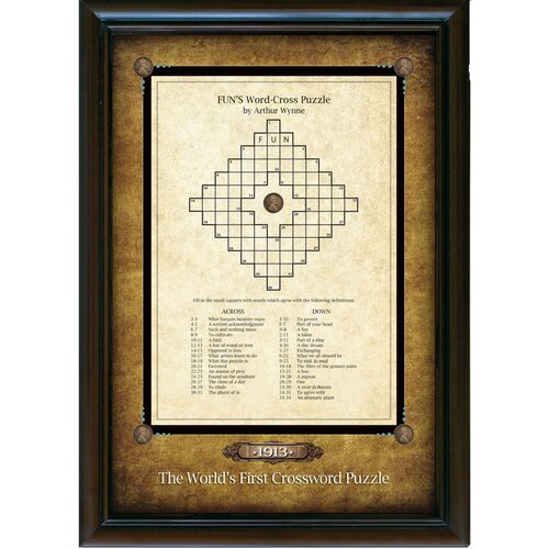 World's First Crossword Puzzle Wall Framed Textual Art