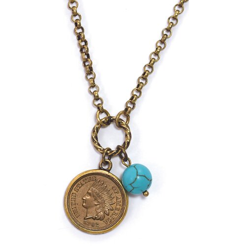 Civil War Turquoise Indian Head Coin Pendant