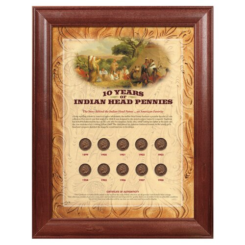 10 Years of Indian Head Pennies Wall Framed Memorabilia