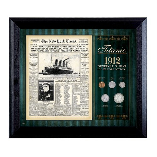 American Coin Treasures New York Times Titanic 1912 U.S. Mint Coin Wall Framed Memorabilia - 5 Coins