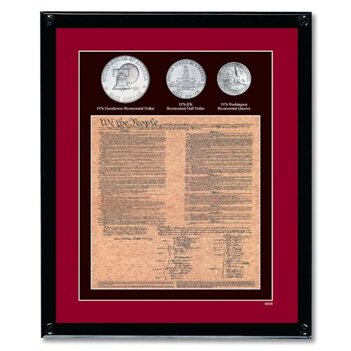 American Coin Treasures U.S. Constitution with All 3 Bicentennial Coin Wall Framed Memorabilia