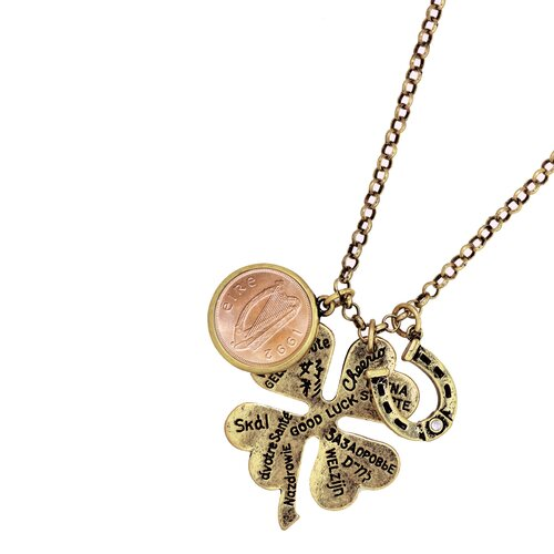 Lucky Copper Language Irish Coin Pendant Necklace