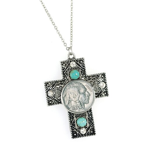 Buffalo Nickel Cross with Crystals and Turquoise Pendant