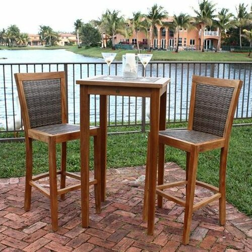 Leeward Islands Pub Table and Barstool Set