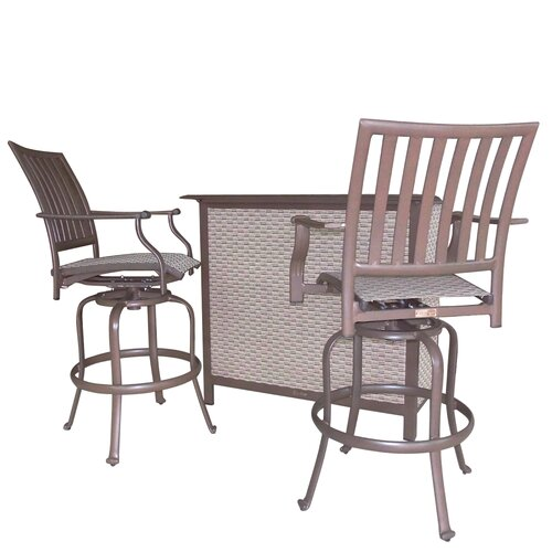 Panama Jack Outdoor Island Breeze 3 Piece Slatted Bar Set