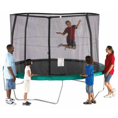 SKYBOUND 15' Enclosure Trampoline Net Using 4 Straight-Curved Poles