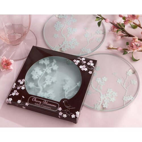 "Kate Aspen ""Cherry Blossoms"" Frosted Glass Coaster"