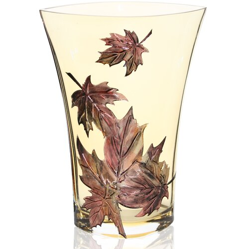 Womar Glass Hand Painted Glass Autumn Leaves Series I Vase