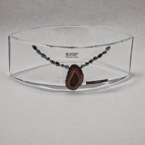 "Womar Glass Precious Stone 6"" Agate and Oxide Precious Stone Series Bowl"