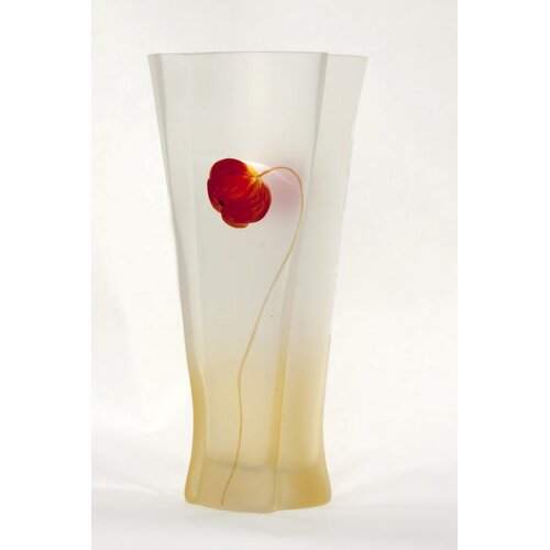 Womar Glass Poppy Flower Vase